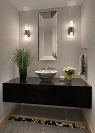 Modern Powder Room with simple granite tile floors, Powder room, Simple  granite counters,