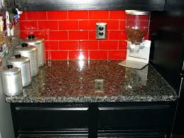 red kitchen glass tile accent backsplash brick