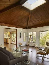 Living Space Design with Wooden Ceiling in Mid Century Modern House Design  in Conshohocken Pennsylvania