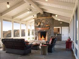 rustic fireplace ideas porch rustic with wood trim pendant lighting screened porch