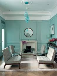 Traditional Blue Green Living Room In Midcentury Style Image
