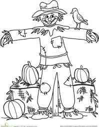 Small Picture Color the Happy Scarecrow Scarecrows and Worksheets