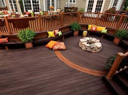 beautiful trex decking cost with curved bench and cushions plus stone firepit also outdoor furniture for