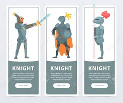 guardians of the kingdom cartoon design of meval characters for card or poster colorful ic ilration in flat style