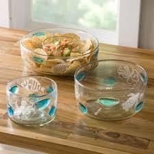aquatic life recycled glass bowls