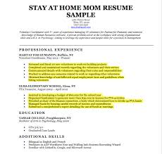 Resume Template For Stay At Home Mom Commily Com