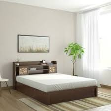 bed. Spacewood Mayflower Engineered Wood Queen Bed With Storage