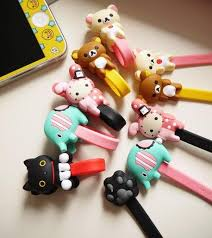 Cartoon Button Cord Holder Wire Wrapper for Cables Earphone (2pc/Pack)