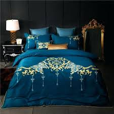 soft bed sets sheet set luxury brown blue embroidery bedding king queen next super