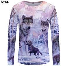 <b>KYKU Wolf T Shirt Men</b> Long Sleeve Shirt Love Streetwear Snow ...