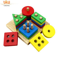 umiwe kids educational preschool shape color recognition toys wooden geometric board block stack sort chunky children