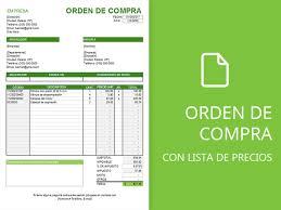 Formato De Lista De Precios Plantilla De Orden De Compra Con Lista De Precios