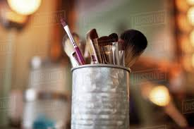 makeup brushes in container