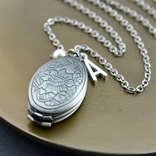 silver personalised multi aperture initial locket