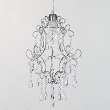 easy fit pendant shade chandelier crystal effect shade chrome fitting litecraft