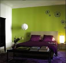 Purple and a green color scheme give an organic feeling to your bedroom  design