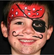 pirate face painting with red bandanna tied on side