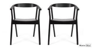 Black Wood Dining Chairs 2 X Greta Wood Dining Chair With Arms Black Wood Dining Chair