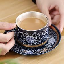 S999 <b>sterling silver</b> ceramic <b>mug</b> office <b>cup mug</b> insulated coffee <b>cup</b> ...