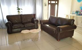 excellent condition genuine leather studded full grain 2pc lounge suite pinelands 0826245168