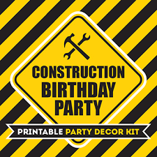 Printable Construction Signs Huge Construction Party Printable Kit 75 Pages Of