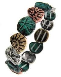 tri tone patina lead nickel pliant metal sea life stretch bracelet