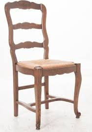 set of six french 1940s oak ladder back dining chairs