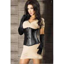 whole leather corset with zipper plc566