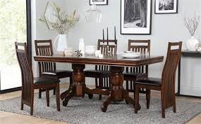 sworth extending dark wood dining table and 6 java chairs set