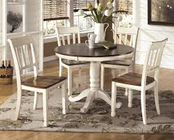 Cottage Style Kitchen Table Ashley Whitesburg Two Tone White Brown Finish Round Dining Room Table