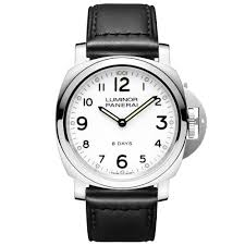 officine panerai watches at berry s jewellers luminor base 8 days white dial leather strap men s watch