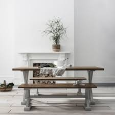 canterbury farmhouse table and 2 benches in grey and dark pine