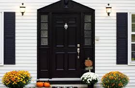 black front doors. Beautiful Front White Exterior With Black Front House And Fall Poted Flowers For Black Front Doors B