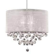 new 4 lite chandelier silk silver drum shade crystal ball with bubble dia 20