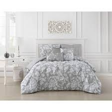 internet 307346344 jacqueline 5 piece pinch pleat light gray twin comforter set