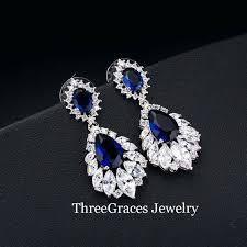 new chandelier diamond earrings or vintage bridal earring big chandelier cubic pave deep red stone women