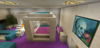 Minecraft Furniture Bedroom Minecraft Bedroom Pink Girl Purple Furniture Canopy Bed Fireplace