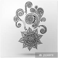 Plakát Henna Květiny A Paisley Mehndi Tetování čmáranice