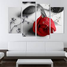 hot sell red flowers wall art canvas painting modern wall