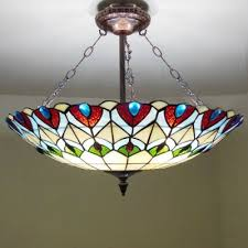 four light peacock stained glass tiffany chandelier with copper finish