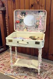 Just in Case: A Suitcase Vanity Repurposed antique suitcase into  vanity/side table