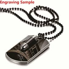 details about men s personalized army military bullet black dog tag pendant necklace engraved