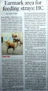 laws that protect animals in earmark area for feeding strays hc times of