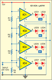 led voltmeter note you can use lm324 instead of μ741 battery led voltmeter note you can use lm324 instead of μ741