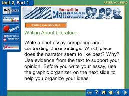 unit part click the mouse button or press the space bar to  95 unit 2 part 1 farewell to manzanar after you compare and contrast setting in farewell to manzanar the narrator describes the different settings in