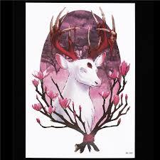 1 лист цветок рука татуировки женщины мужчины боди арт Hb580 оленей фея бог сливы