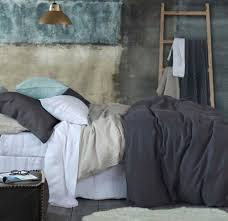 laundered linen duvet cover sets chambray and charcoal by mm linen