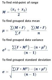 formula to find mean standard deviation variance for frequency distribution table data