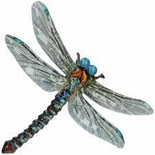 blue metal dragonfly garden home wall
