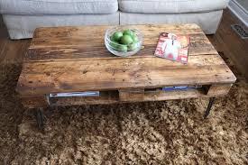 TURVAS Retro Pallet Coffee Table In Roast Coffee Finish U0026 WithPallet Coffee Table With Hairpin Legs